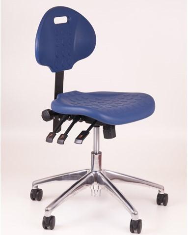 Werkstoel blauw laag + Alu voet